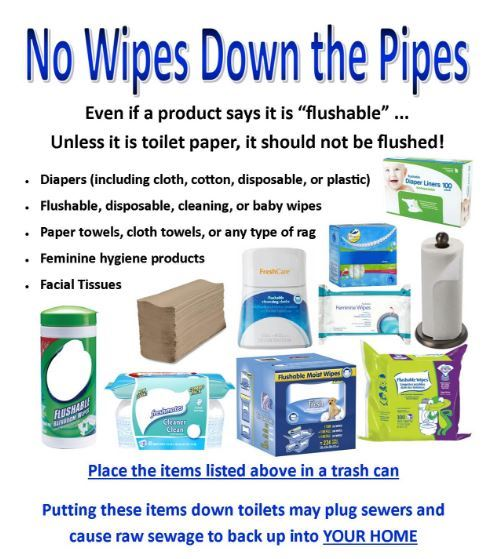 no wipes down pipes