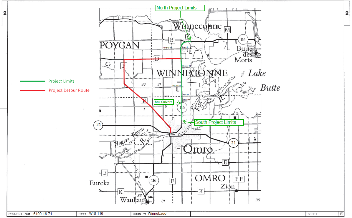 Hwy 116 project between Winneconne and Omro